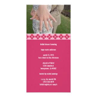 Bridal Shower Argyle Customized Photo Card