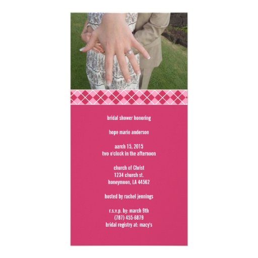 Bridal Shower Argyle Customized Photo Card