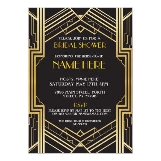 Bridal Shower Art Deco 1920's Gold Party Invite