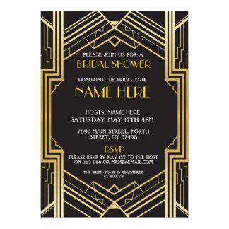 Bridal Shower Art Deco 1920's Gold Party Invite