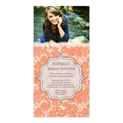 Bridal Shower Autumn Lace Paisley Photo Invite Photo Cards