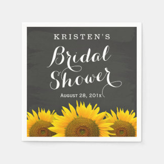 Bridal Shower Beautiful Sunflowers Chalkboard Disposable Napkin