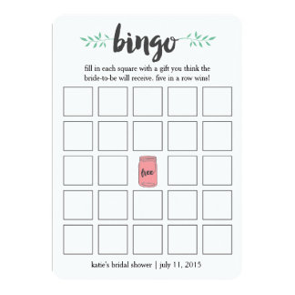 "Bridal Shower Bingo Card Game, Botanical Mason Jar 5"" X 7"" Invitation Card"