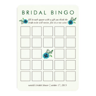 "Bridal Shower Bingo Game Card | Blue Floral 5"" X 7"" Invitation Card"