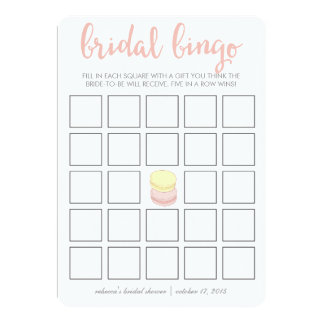 "Bridal Shower Bingo Game Card | French Macarons 5"" X 7"" Invitation Card"