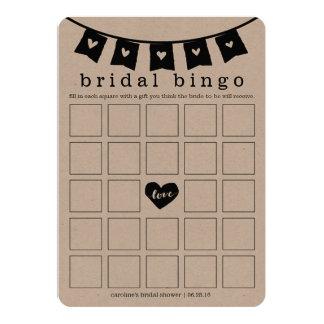 "Bridal Shower Bingo Game Card | Kraft Hearts 5"" X 7"" Invitation Card"