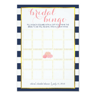 "Bridal Shower Bingo Game Card | Midnight Peony 5"" X 7"" Invitation Card"