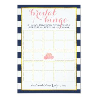 "Bridal Shower Bingo Game Card | Midnight Peony 5"" X 7"" Invitation Card"