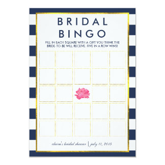 "Bridal Shower Bingo Game Card | Navy Stripe Peony 5"" X 7"" Invitation Card"