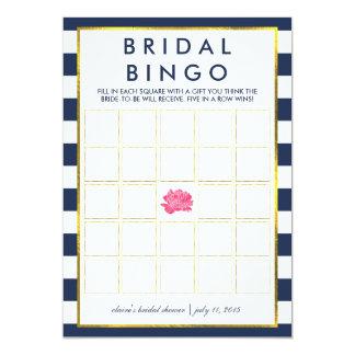 "Bridal Shower Bingo Game Card | Navy Stripe Peony 5"" X 7"" Invitation Card"