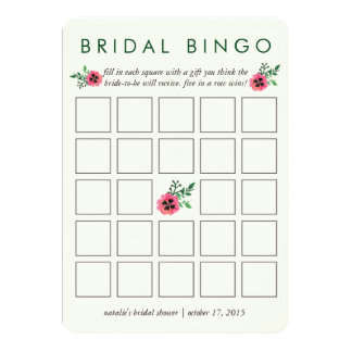 "Bridal Shower Bingo Game Card | Pink Floral 5"" X 7"" Invitation Card"