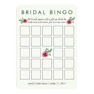 "Bridal Shower Bingo Game Card | Pink Floral 5"" X 7"" Invitation Card"