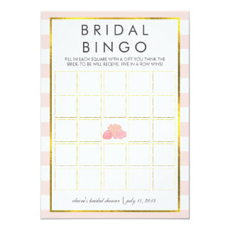 "Bridal Shower Bingo Game Card | Pink Stripe Peony 5"" X 7"" Invitation Card"