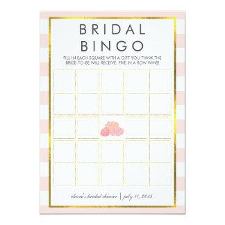 "Bridal Shower Bingo Game Card | Pink Stripe Peony 5"" X 7"" Invitation Card"