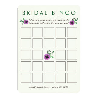 "Bridal Shower Bingo Game Card | Purple Pansy 5"" X 7"" Invitation Card"