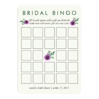 "Bridal Shower Bingo Game Card | Purple Pansy 5"" X 7"" Invitation Card"