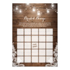 Bridal Shower Bingo Game Rustic String Lights Lace Card