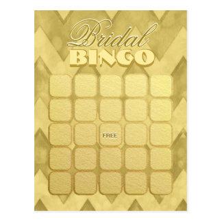 Bridal Shower Bingo   Gold Chevron Postcard