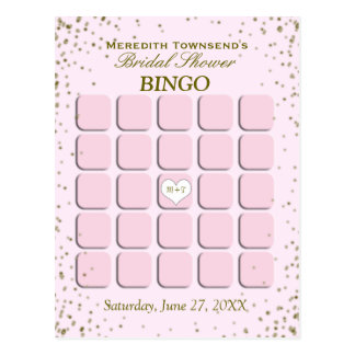 Bridal Shower Bingo   Pink Confetti Postcard