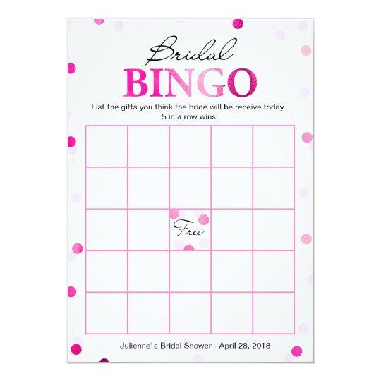 Bridal Shower Bingo | Pink Magenta Confetti Game Card