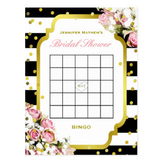 Bridal Shower Bingo   Stripes and Roses Postcard
