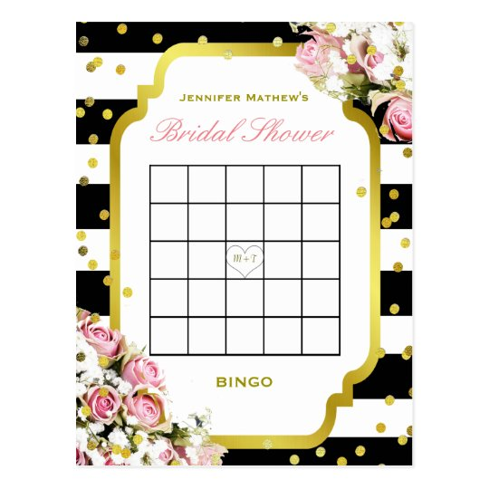 Bridal Shower Bingo | Stripes and Roses Postcard