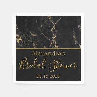 Bridal Shower Black and Gold Elegant Marble Disposable Napkin