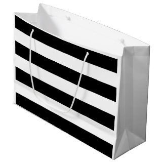 Bridal Shower Black and White Stripe Large Gift Bag