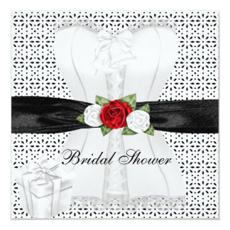 Bridal Shower Black White Corset Red Roses Flower Card