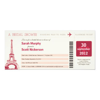 Bridal Shower Boarding Pass to Paris France Card