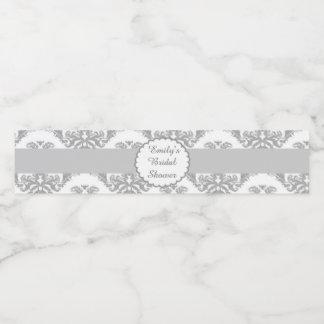 Bridal Shower Bottle Label Silver Grey Damask