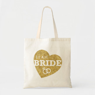 Bridal Shower Bride Heart Team Bride Gold Glitter Tote Bag