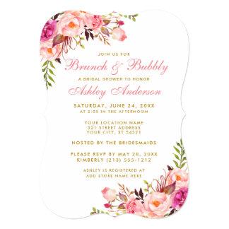 Bridal Shower Brunch Gold Pink Floral Invitation
