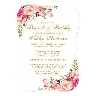 Bridal Shower Brunch Pink Floral Gold Invitation