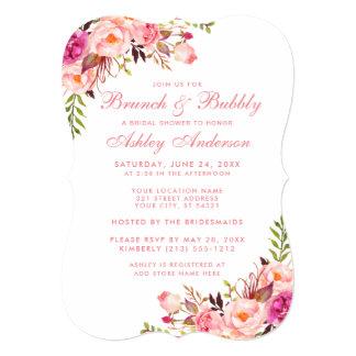 Bridal Shower Brunch Pink Floral Invitation