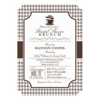 Bridal Shower Brunch; Taupe Houndstooth Card