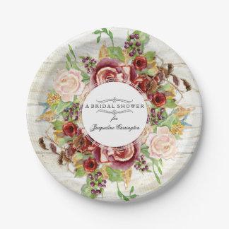 Bridal Shower Burgundy Rose Floral Watercolor Wood Paper Plate