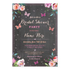 Bridal Shower Butterfly Chalk Bachelorette Invite