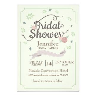 Bridal Shower Card flowers wreath minimalist.