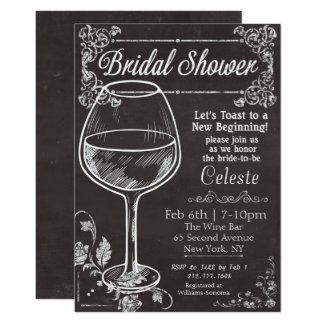 Bridal Shower Chalk Chalkboard Wine Invitation