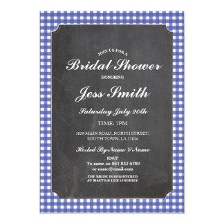 Bridal Shower Chalk Party Rustic Blue Check Invite