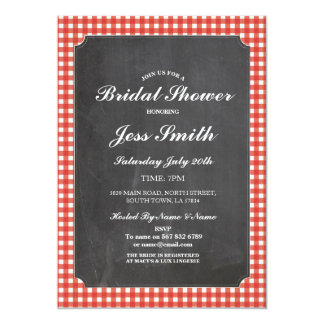 Bridal Shower Chalk Party Rustic Red Check Invite