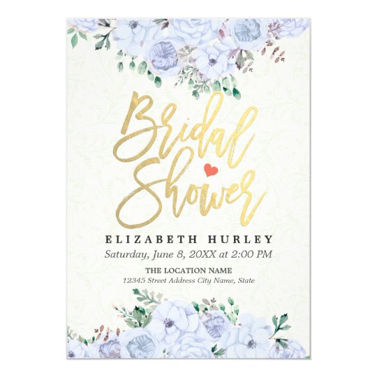 Bridal Shower Chic Watercolor Floral Gold Script Card