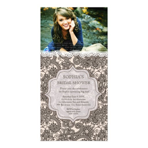 Bridal Shower Chocolate Ivory Lace Paisley Invite Customized Photo Card