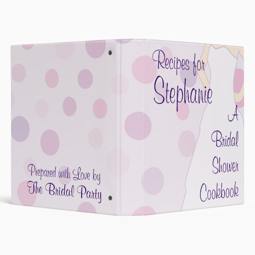 Bridal Shower Cookbook 3 Ring Binder