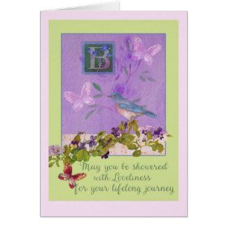 Bridal Shower Custom Illustrated Bluebird Florals Card