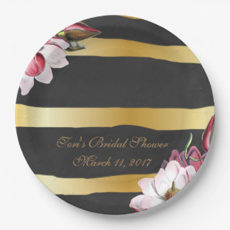 Bridal Shower Custom Paper Plates-Vintage Flowers 9 Inch Paper Plate