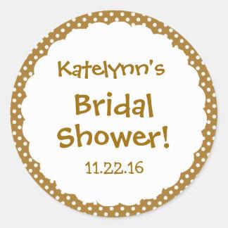 Bridal Shower Cute Polka Dot Party Favor Round Sticker