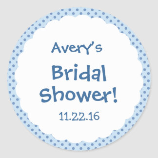 Bridal Shower Cute Polka Dot Party Favor Round Sticker