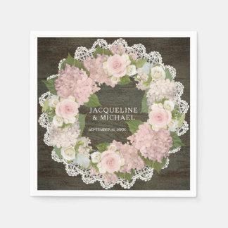 Bridal Shower Dark Wood Lace Hydrangea Rose Wreath Paper Napkin